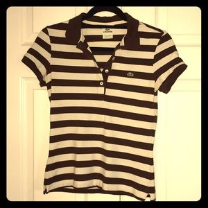 Lacoste brown and white striped polo